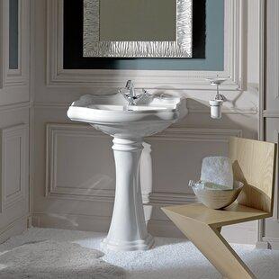 Great Price Retro Ceramic 28 Pedestal Bathroom Sink ByWS Bath Collections