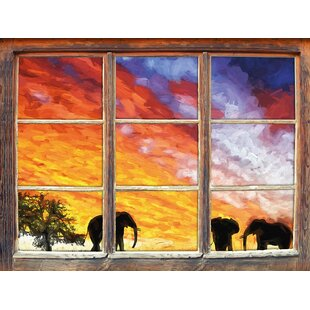 Elephants In An African Desert At Sunset Wall Sticker By East Urban Home