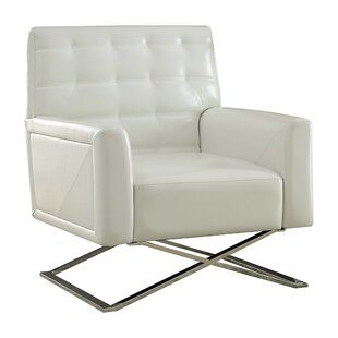 Shorewood Polyurethane Upholstered Metal Armchair by Orren Ellis