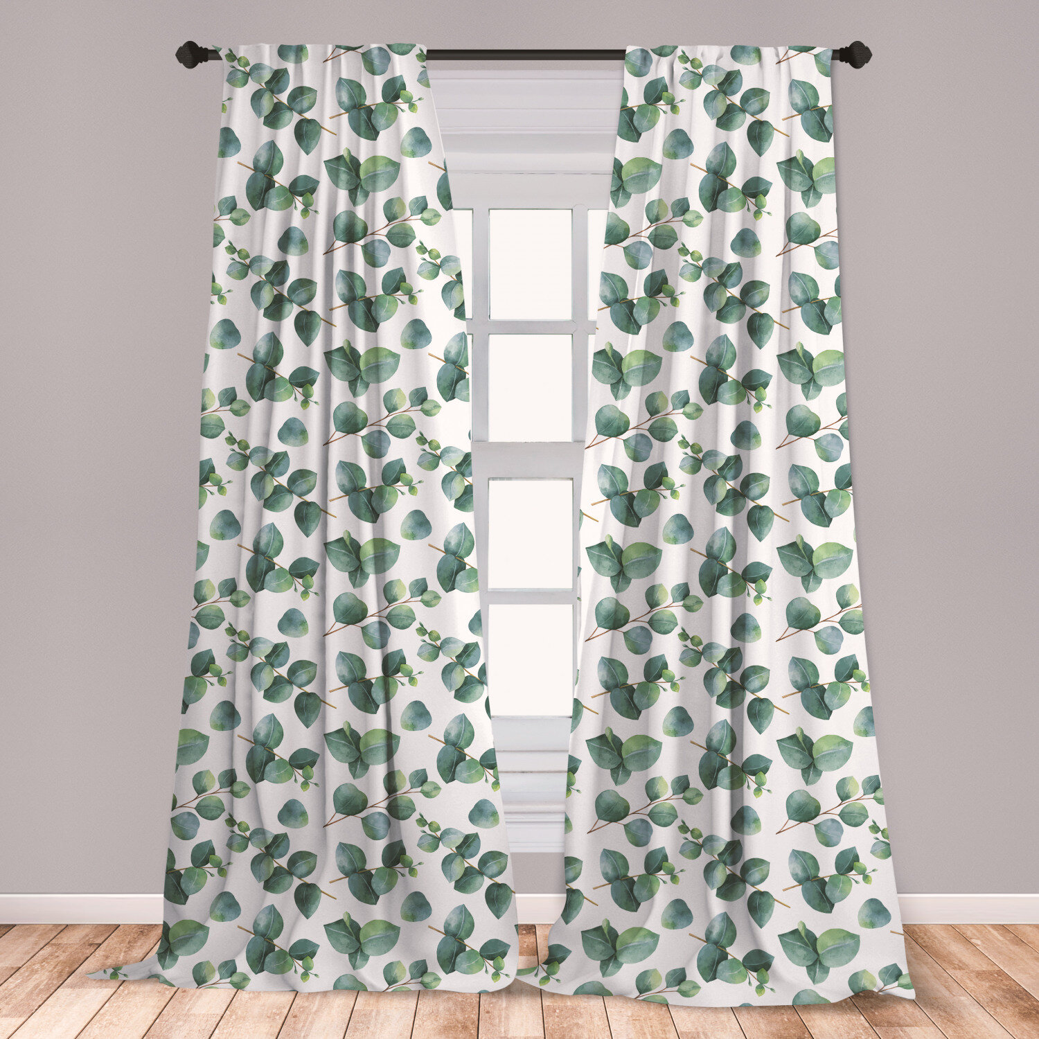East Urban Home Ambesonne Leaf 2 Panel Curtain Set, Watercolor