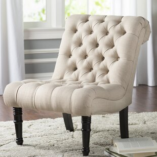 Alcott Hill Clarke Scroll Back Tufted Slipper Chair