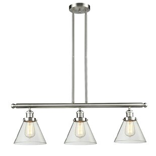 Breakwater Bay Wyndmoor Glass Cone 3-Light Kitchen Island Pendant