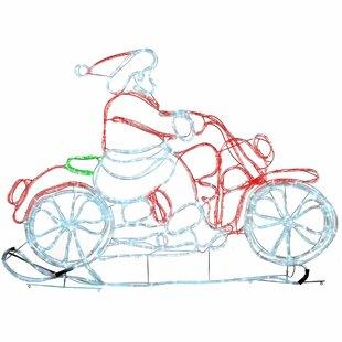 Animated Santa Riding Motorbike 24 Lighted Display By The Seasonal Aisle