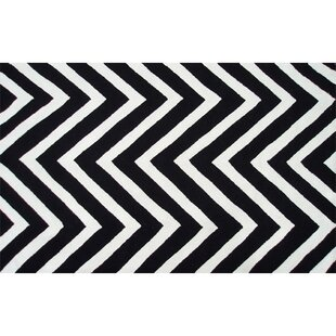 Reviews Hand-Hooked Black/White Outdoor Area Rug By The Conestoga Trading Co.