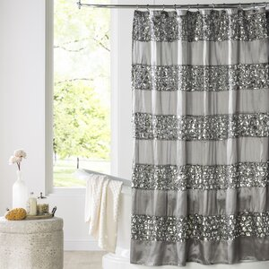 Brunilda Bedazzled Bling Fabric Single Shower Curtain