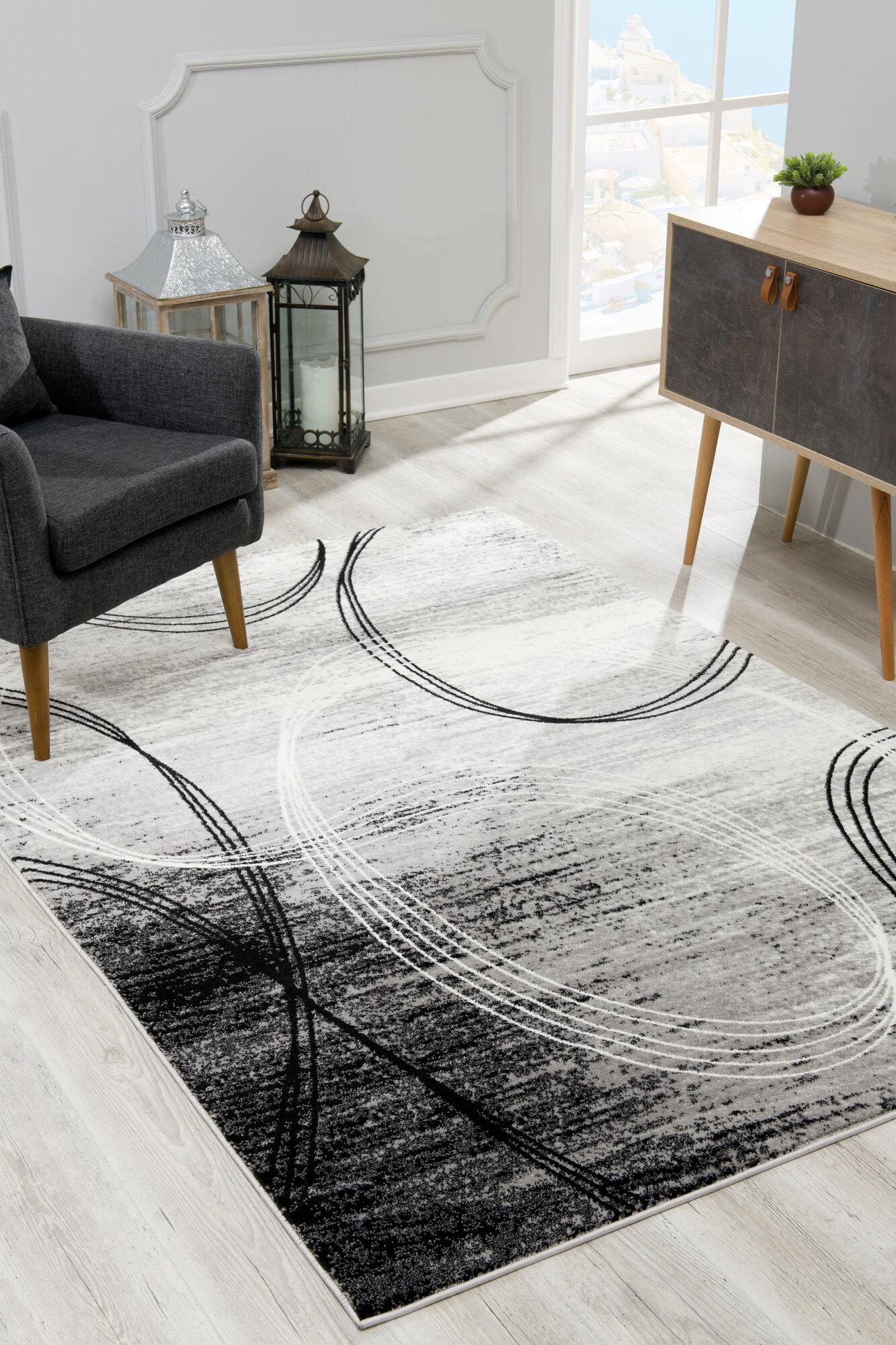 Orren Ellis Dillup Jones Abstract Gray Area Rug Reviews Wayfair
