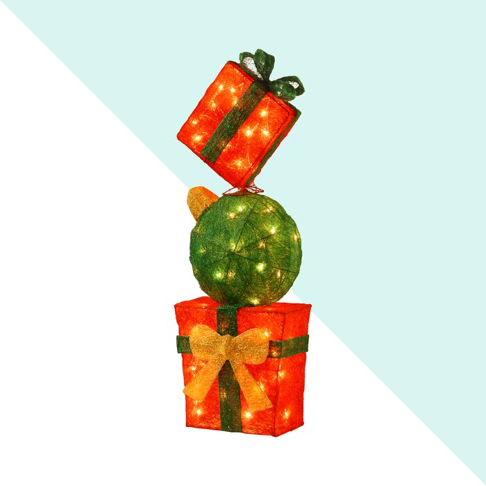 Pre Lit Gift Box Tower Christmas Decoration