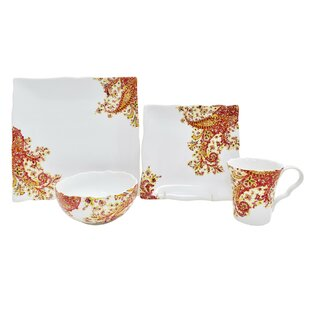 Surya Saffron 16 Piece Dinnerware Set, Service For 4