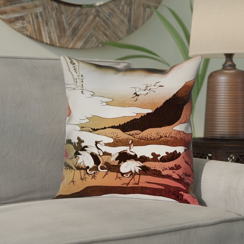 Bloomsbury Market Montreal Japanese Cranes Square Double Sided Print Pillow Cover Wayfair