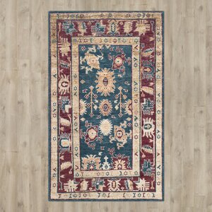 Hacienda Hand-Knotted Blue/Red Area Rug