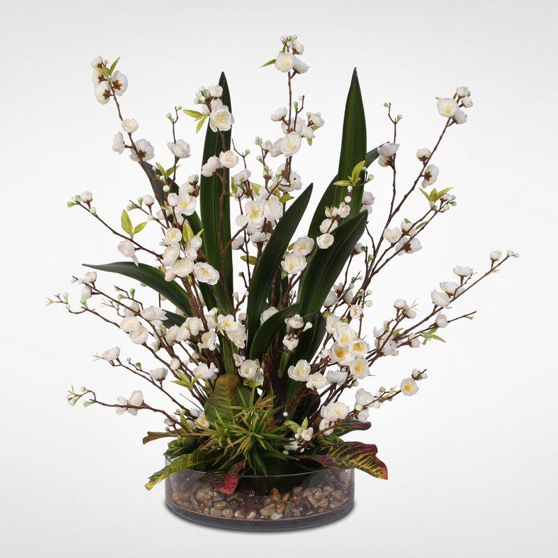 Foundry Select Handmade Silk Peach Blossom Artificial Succulents Floral Arrangement Wayfair