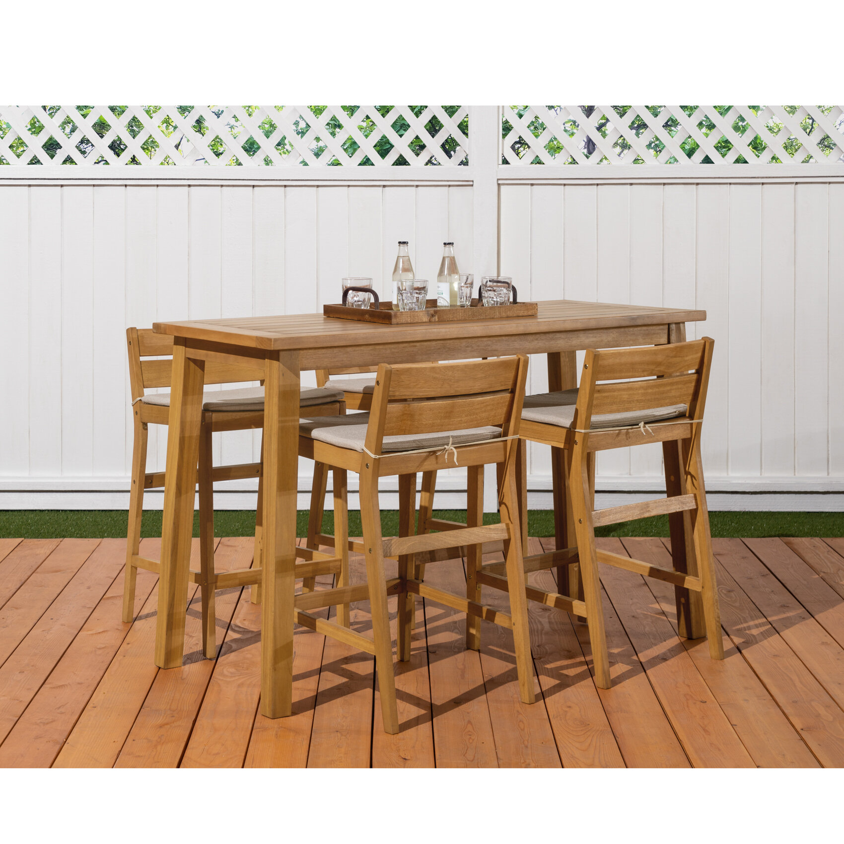 Breakwater bay glisson 5 piece teak bar height dining set with cushions reviews wayfair