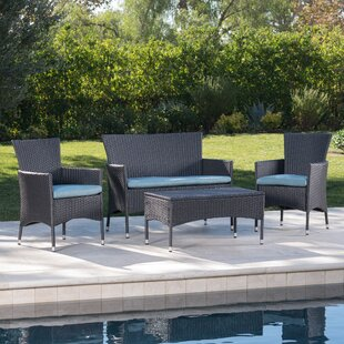Faison 4 Piece Rattan Sofa Set with Cushions