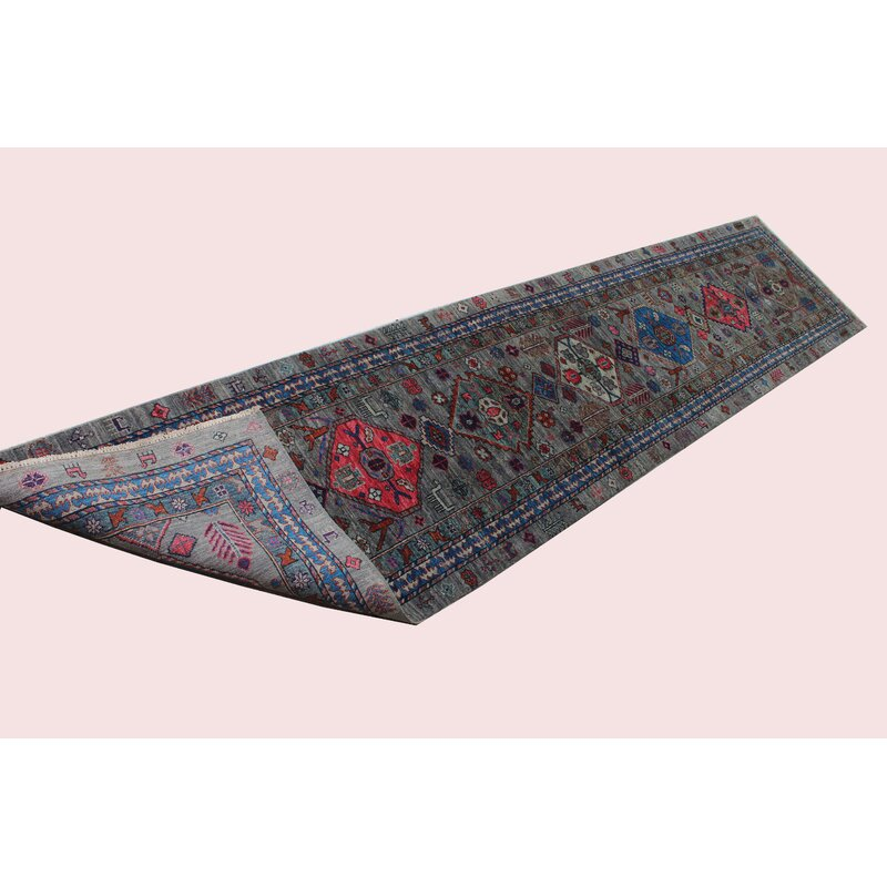 Bokara Rug Co Inc Runner Aryana Oriental Hand Knotted Wool Navy Light Blue Area Rug Wayfair