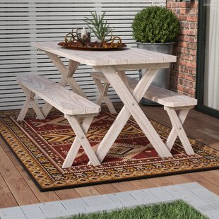 Loon Peak Riverhead Pine Cross-leg Picnic Table with 2 Benches