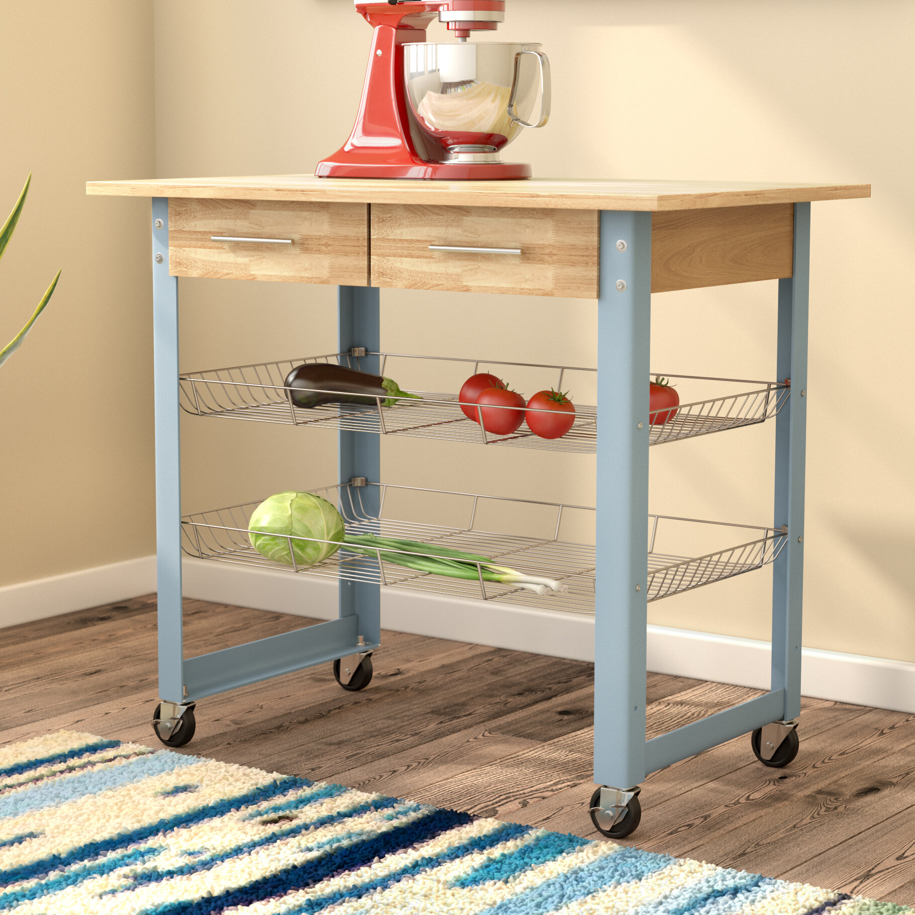 Mcdonald Kitchen Cart With Solid Wood Top