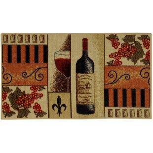 Birdsview French Wine Gl Cream Orange Kitchen Area Rug