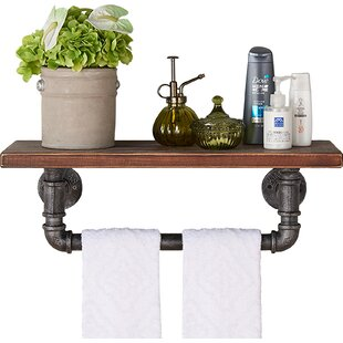 Trent Austin Design Industrial Wood and Metal Floating Wall Shelf