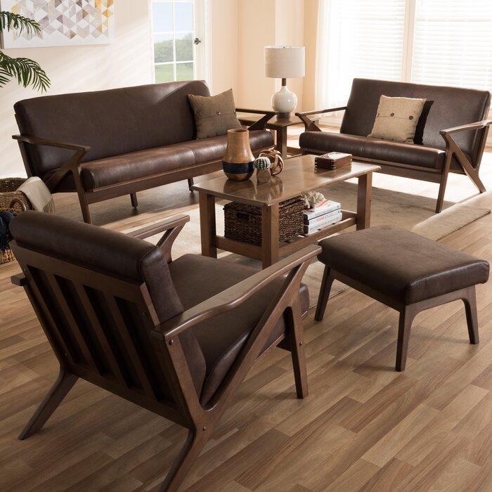 Wojtala Mid-Century Modern Solid 4 Piece Living Room Set