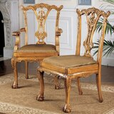English Chippendale Upholstered 6 Piece Dining Chair Set (Set of 6) by Design Toscano