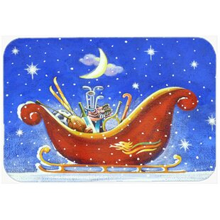 Christmas Santa's Sleigh Glass Cutting Board