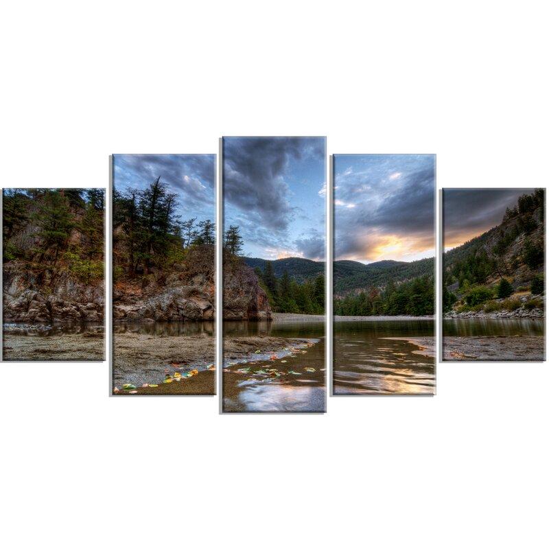 Designart Peaceful Evening At Mountain Creek 5 Piece Photographic Print On Wrapped Canvas Set Wayfair