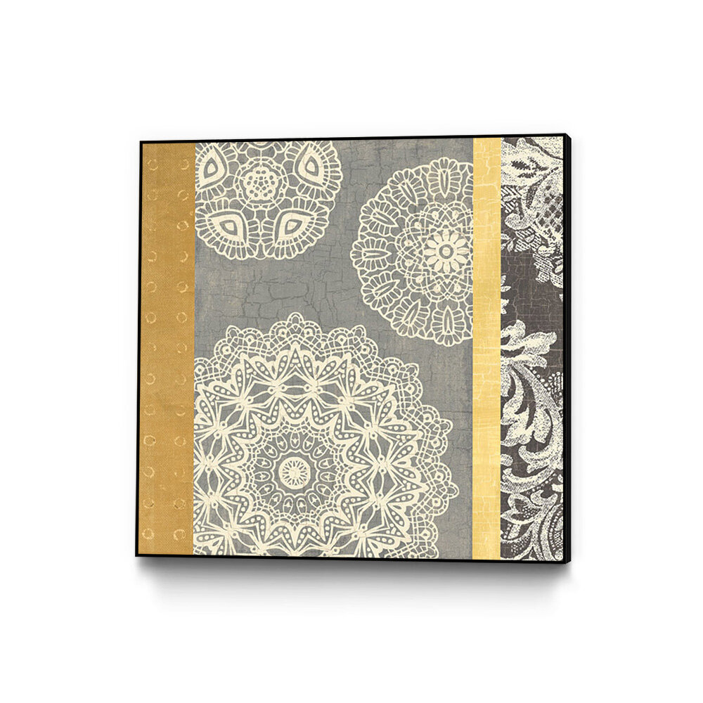 Bloomsbury Market \'Contemporary Lace II Yellow Gray\' Framed Graphic ...