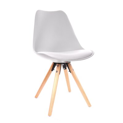 George Oliver Beyers Upholstered Dining Chair Leg Color: Natural, Upholstery Color: White