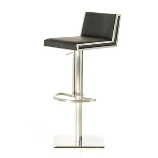 Orren Ellis Clower Adjustable Height Upholstered Swivel Bar Stool