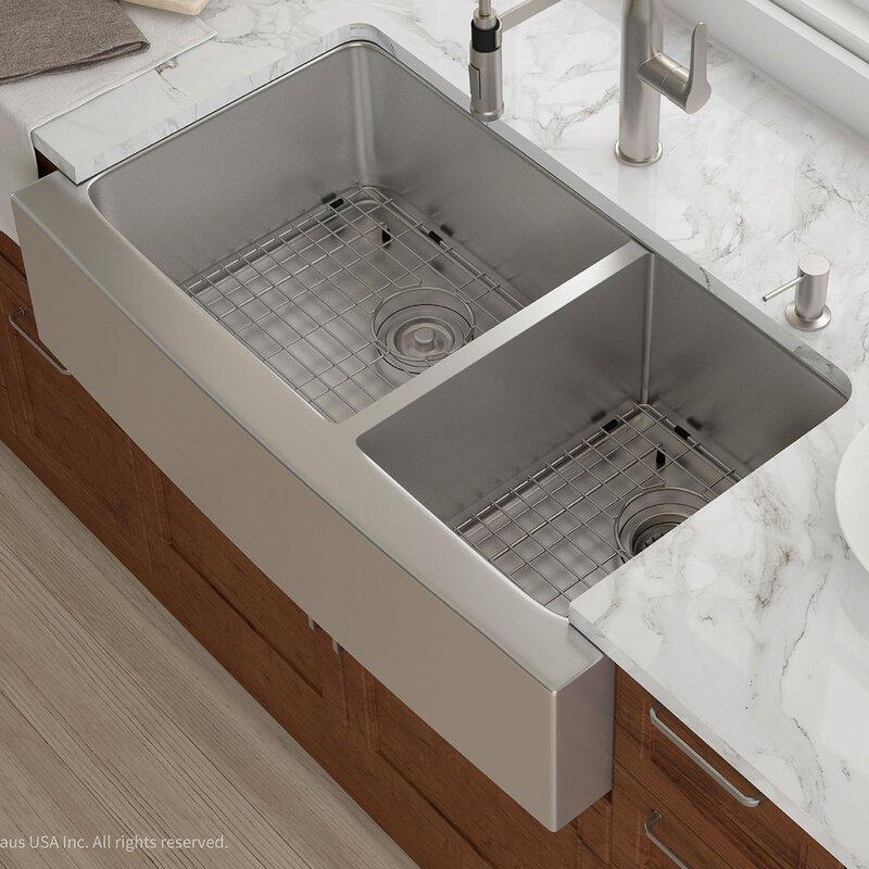 Drain Kitchen Sink Kraus 36 x 21 double basin farmhouse kitchen sink with drain 36 x 21 double basin farmhouse kitchen sink with drain assembly workwithnaturefo