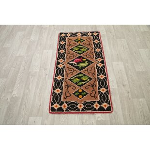 Read Reviews Woodstock Kazak Traditional Classical Oriental Hand-Knotted Wool Black/Green/Brown Area Rug ByBloomsbury Market