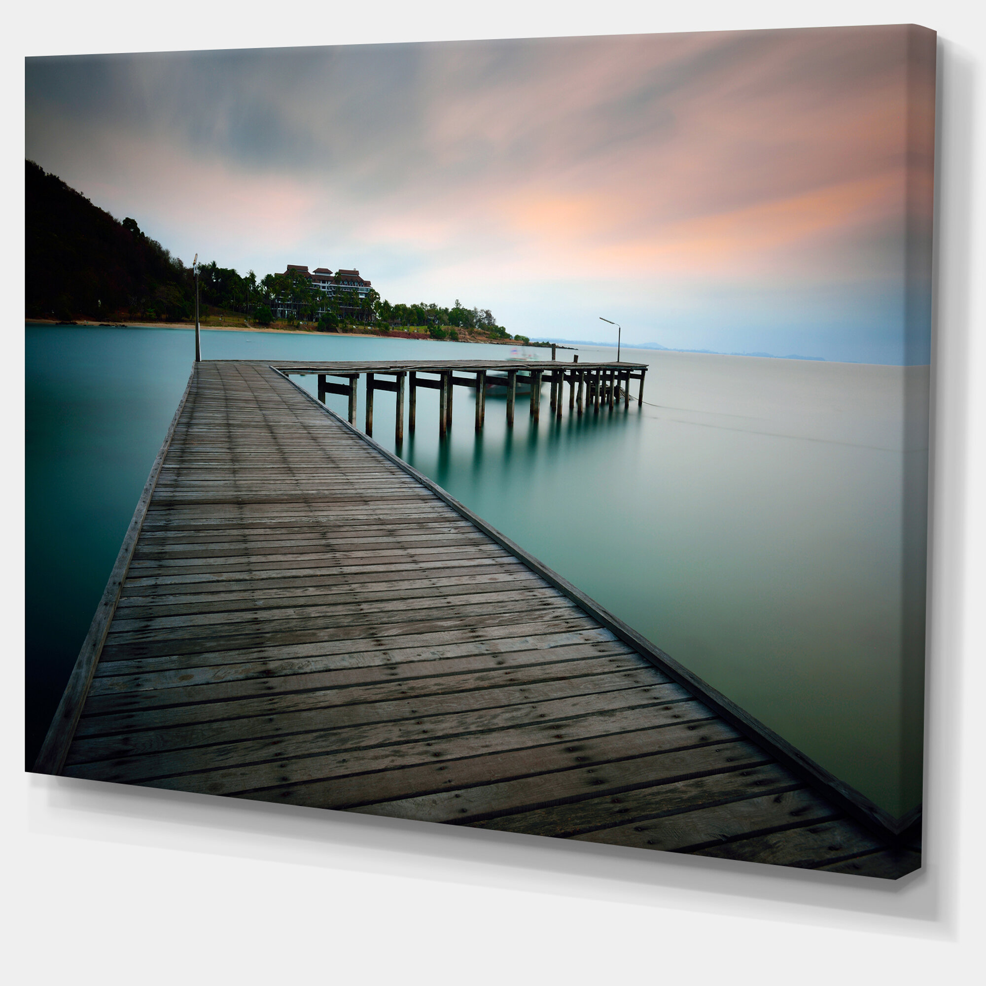 Designart Wooden Bridge Into Blue Sea Photographic Print On Wrapped Canvas Wayfair