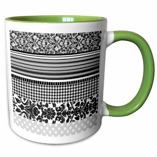 Ethan Stylish Damask Houndstooth Stripes and Polka Dots Coffee Mug
