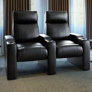 Leather Manual Rocker Recline Home Theater Row Seating (Row of 2) ByLatitude Run