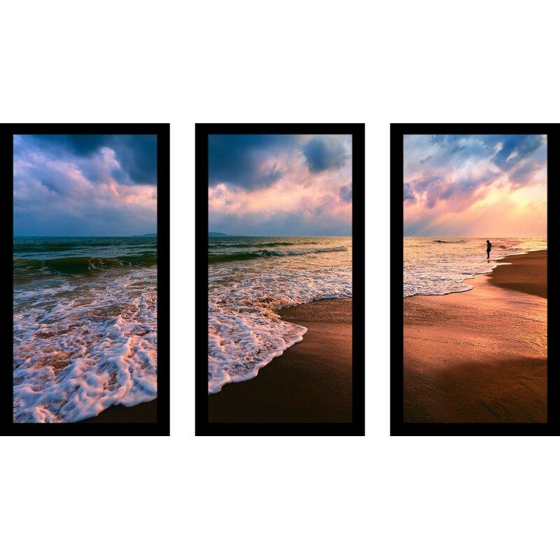 Pictureperfectinternational Lifes A Beach Iii 3 Piece Framed Photographic Print Set Wayfair