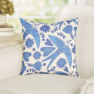 Gail Birds and Hearts Cotton Throw Pillow