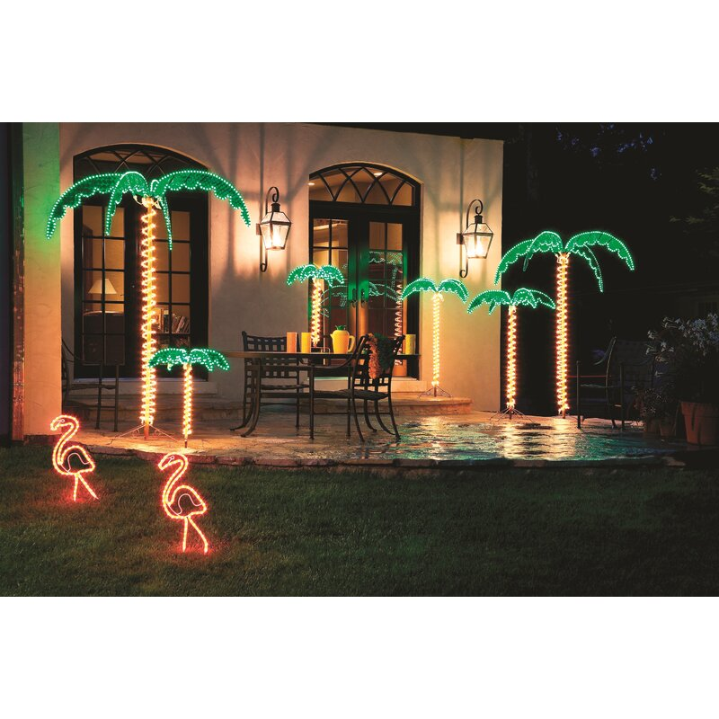 Tropical Holographic Rope Light Outdoor Palm Tree Decoration Lighted Display