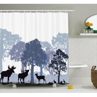 Buttercup Moose Forest Design Abstract Woods North American Wild Animals Deer Hare Elk Trees Single Shower Curtain