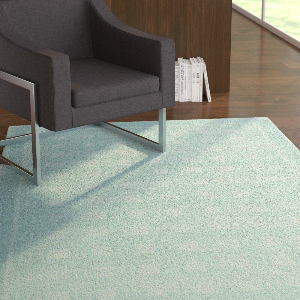 Ebern Designs Lasalle Geometric Wool Aqua Blue Area Rug Reviews Wayfair