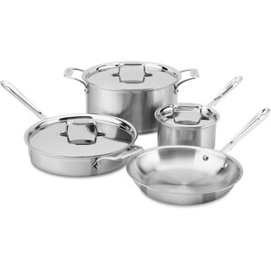 Brushed Stainless Steel 7 Piece Cookware Set