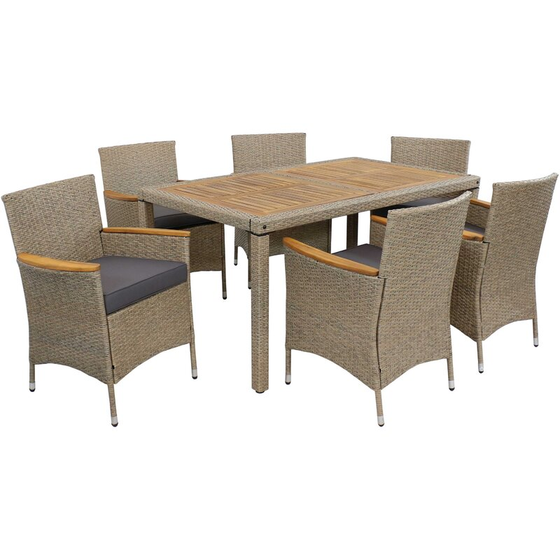Red Barrel Studio Aimantas 7 Piece Dining Set with Cushions