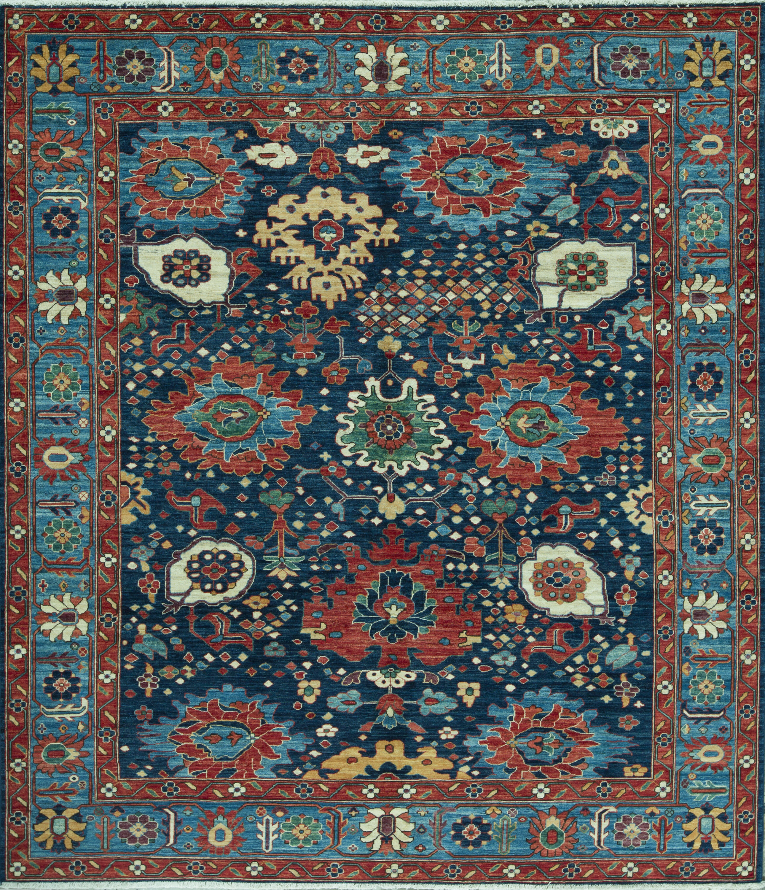 Bokara Rug Co Inc Aryana Oriental Hand Knotted Wool Light Blue Dark Blue Area Rug Wayfair Ca