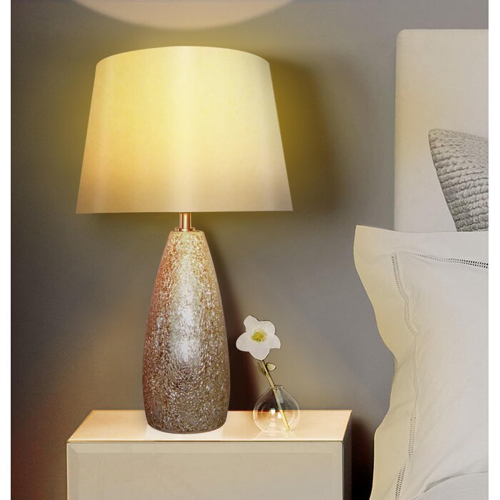 Nu steel champagne crackle glass 195 table lamp reviews wayfair champagne crackle glass 195 table lamp mozeypictures Images