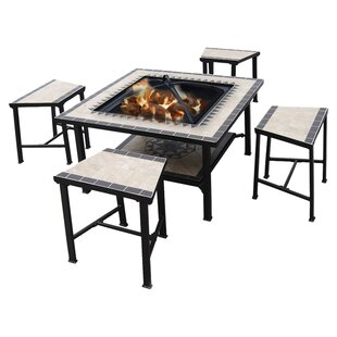 Deeco Stainless Steel Wood Burning Fire Pit Table