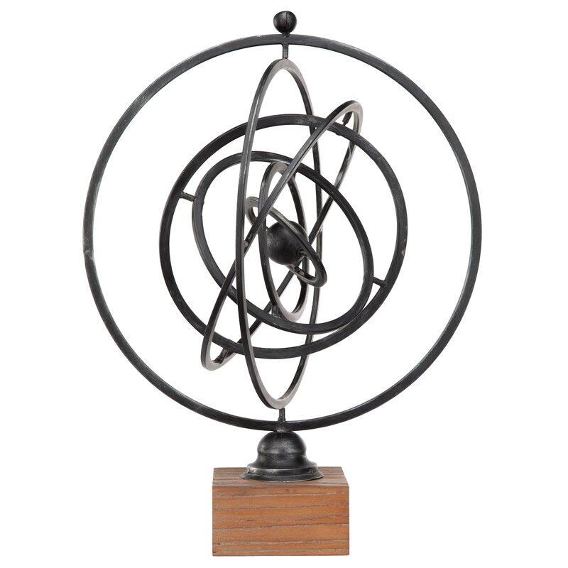 New Fashion Metal Art Iron Sculpture Armillary Sphere Decorative Copernicus Atom Solar Orb Art Sculptures