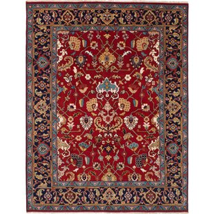 Affordable Price One-of-a-Kind Evonne Hand-Knotted Wool Red/Black Area Rug By Isabelline
