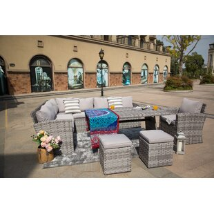 Murillo 6-Piece Sofa Seating group with Ottoman and Luxury Cushions Lounge Set