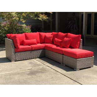 Nioka 3 Piece Rattan Sectional Seating Group with Cushions