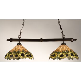 Meyda Tiffany Wicker Sunflower 2-Light Pool Table Light Pendant