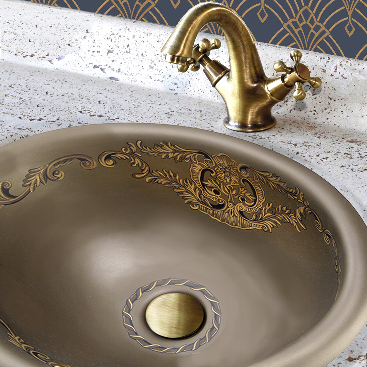 Regatta Ceramic Oval Drop-In Bathroom Sink with Overflow